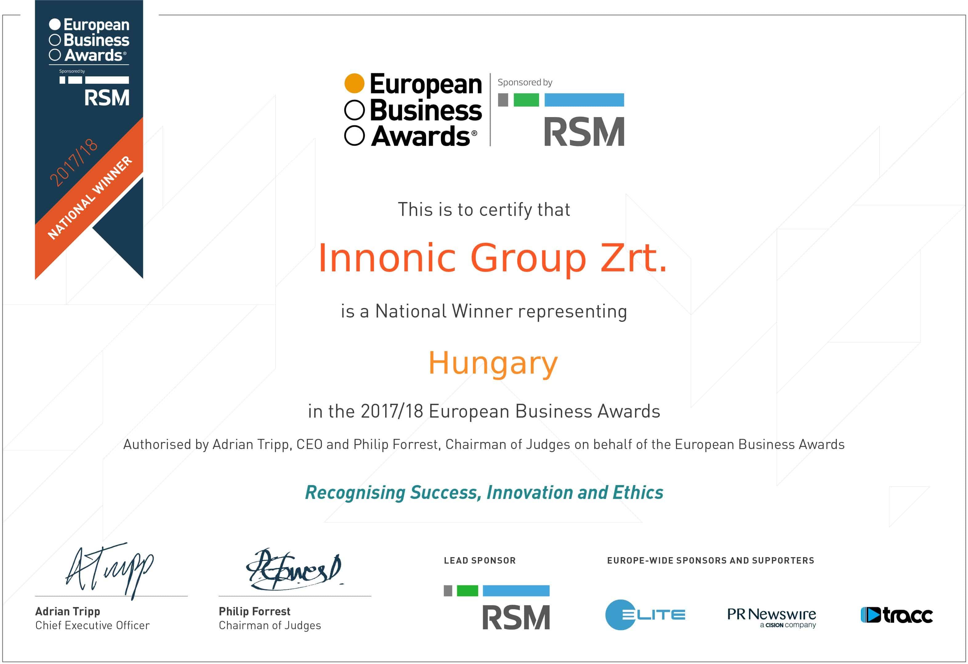 Innonic Group Certificate