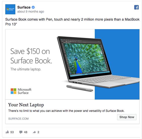 facebook ad example Microsoft